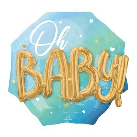 Foil Balloon-3D Supershape-Oh Baby-Blue and Gold