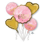 Foil Balloon-5pcs Bouquet-Pink Oh Baby!
