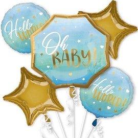 Foil Balloons-5pcs Bouquet-Blue Oh Baby!