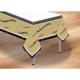 Tablecloth-Congratualtions-Gold and Black-54x108""