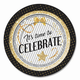 Beverage Paper Plates-Congratulations-Time to Celebrate-8pcs-7""