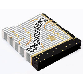 Napkins - LN - Congratualtions Black and Gold - 16pkg - 2ply