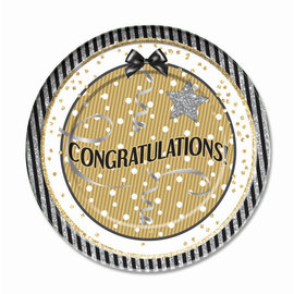 "Plates - LN - Paper - Congratulations Black and Gold - 9"" - 8pkg"