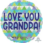 "Foil Balloon- Love You Grandpa!- 18"""