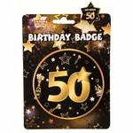 Birhday Badge Button-50th Gold