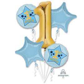 Foil Balloons-5pc Bouquet-1st Birthday Blue and Gold
