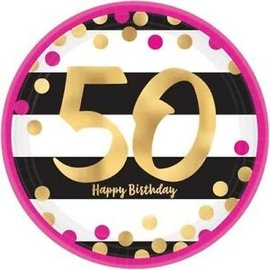 Luncheon Paper Plates- 50th Pink and Gold Milestone