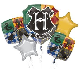 Foil Balloon-5pc Bouquet-Harry Potter Crest
