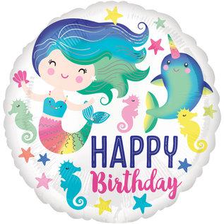 "Foil Balloon-Happy Birthday-Mermaid-18"""