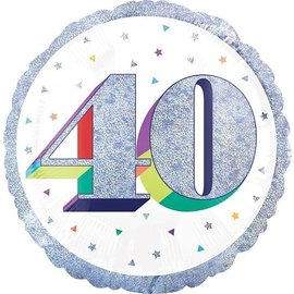 "Foil Balloon-40th Birthday-18"""