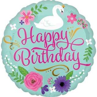 "Foil Balloon-Happy Birthday-Swan-18"""