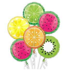 Foil Balloon-Tropical Fruit Bouquet-5pk