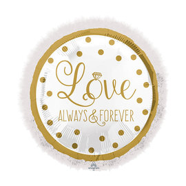 Foil Balloon-Supershape-Gold and White Love Always Fur Heart