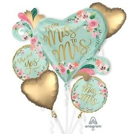 Foil Balloon - 5pc Bouquet - Mint to Be - Miss to Mrs