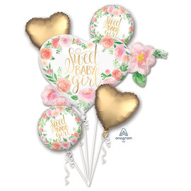 Foil-Balloon-5pc Bouquet-Sweet Baby Girl
