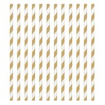 Paper Straws-Gold and White Stripped-24pk