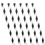 Paper Straws-Black and White Striped-24pk