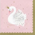 Luncheon Napkins-Stylish Swan Birthday