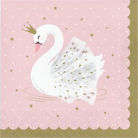 Luncheon Napkins-Stylish Swan Birthday