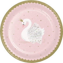 Luncheon Paper Plates-Stylish Swan Birthday