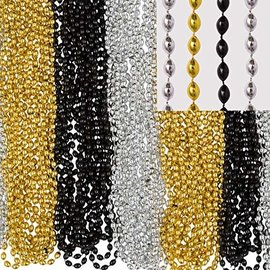 Bead Necklaces - 50 pack- Gold/Silver/Black