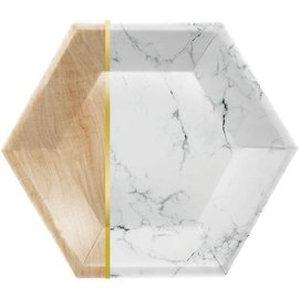 "Luncheon Paper Plates-Hexagon-Marble and Wood-10"" x 11.54""-8Count"