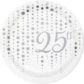 Beverage Paper Plates-25th Sparkle Shine-8 Count-7""