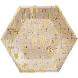 Beverage Paper Plates- Hexagon Gold Foil Cork- 8 Count