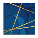 """Luncheon Napkins-Navy Blue and Gold Geode-12.8"""" x 12.7""""-16 Count"""