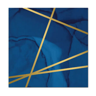 "Luncheon Napkins-Navy Blue and Gold Geode-12.8"" x 12.7""-16 Count"