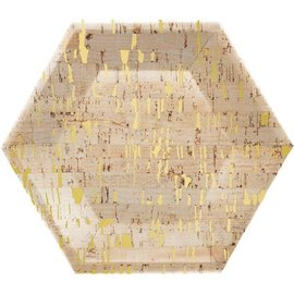 "Luncheon Paper Plates-Hexagon-Cork Gold-10"" x 11.54""-8 Count"