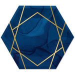 """Luncheon Paper Plates-Navy Blue & Gold Geode-10"""" x 11.54""""-8 Count"""