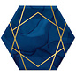 "Luncheon Paper Plates-Navy Blue & Gold Geode-10"" x 11.54""-8 Count"