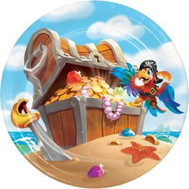 "Beverage Paper Plates-Pirate Treasure-7""- 8 Count"