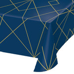 """Table Cover-Navy Blue & Gold-54"""" x 102""""-1 Count"""