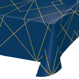 "Table Cover-Navy Blue & Gold-54"" x 102""-1 Count"