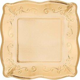 "Beverage Paper Plates-Embossed-Metallic Gold-8pk-7"""