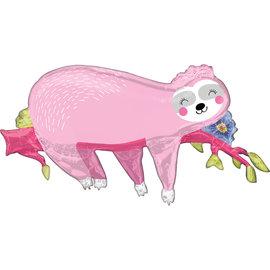 Foil Balloon-Supershape-Sleepy Sloth-Pink