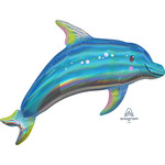 Foil Balloon-Supershape-Holographic Blue Dolphin