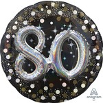 Foil Balloon-3D Supershape-80th Birthday-Black and Gold