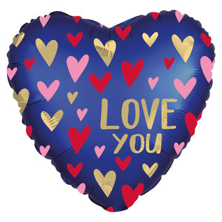 "Foil Balloon-Standard-""Love You"" Multi Colour Heart"