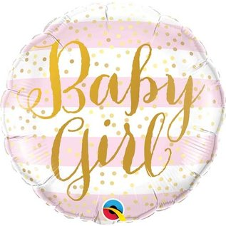 """Foil Balloon-Standard-""""Baby Girl""""-Pink and Gold"""