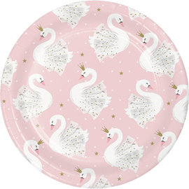 Plates-Beverage Plates-Stylish Swan-8 Count