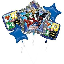 Foil Balloons-5pck Bouquet-Justice League Birthday