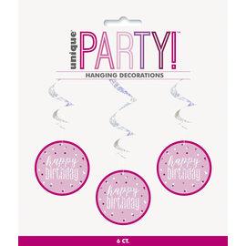 Hanging Decorations-Happy Birthday-Glitz Pink-6pk