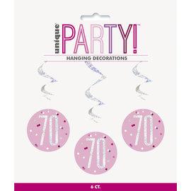 Hanging Decorations-70th Birthday-Glitz Pink-6pk