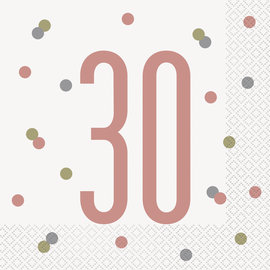 Luncheon Napkins-30th Birthday-Glitz Rose Gold-16pk-2ply