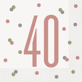 Luncheon Napkins-40th Birthday-Glitz Rose Gold-16pk-2ply