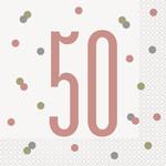 Luncheon Napkins-50th Birthday-Glitz Rose Gold-16pk-2ply