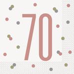 Luncheon Napkins-70th Birthday-Glitz Rose Gold-16pk-2ply